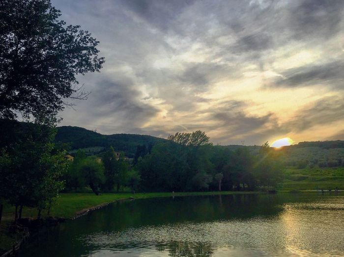 Tuscany Water Tree Sky Cloud - Sky Plant Scenics - Nature Beauty In Nature Lake Tranquil Scene Nature Tranquility No People Non-urban Scene Reflection Sunset Mountain Waterfront Coniferous Tree Outdoors Idyllic