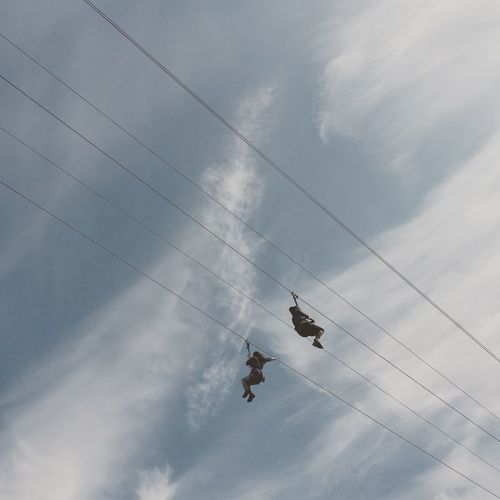 Low Angle View Of Women On Zip Line Against Sky