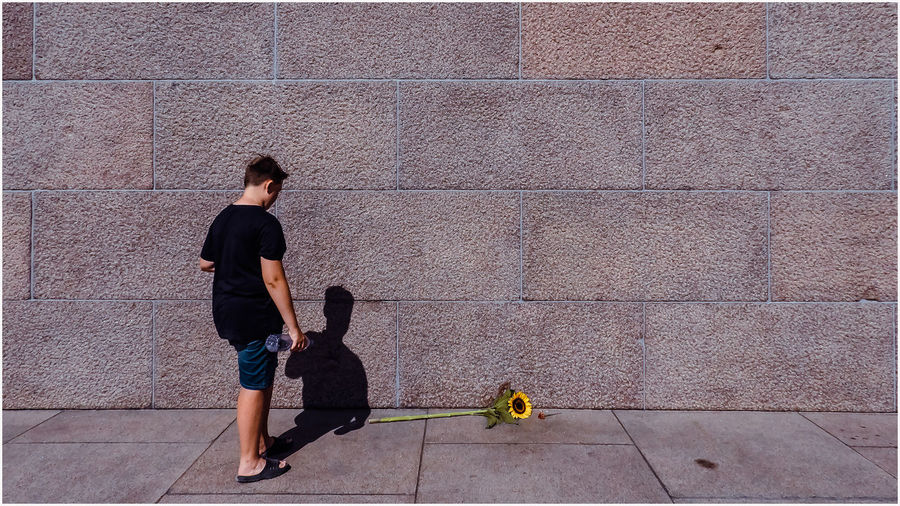 Rear view of boy standing by sunflower on footpath against wall during sunny day