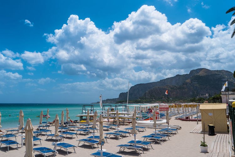 mondello's beach Blue Calm Cloud Cloud - Sky Cloudy Italy Mountain Nature Palermo Scenics Sea Sicily Sky Tranquil Scene Tranquility Transportation Vacations Water