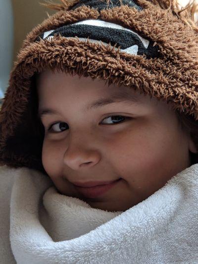 Portrait of cute boy wearing warm clothing