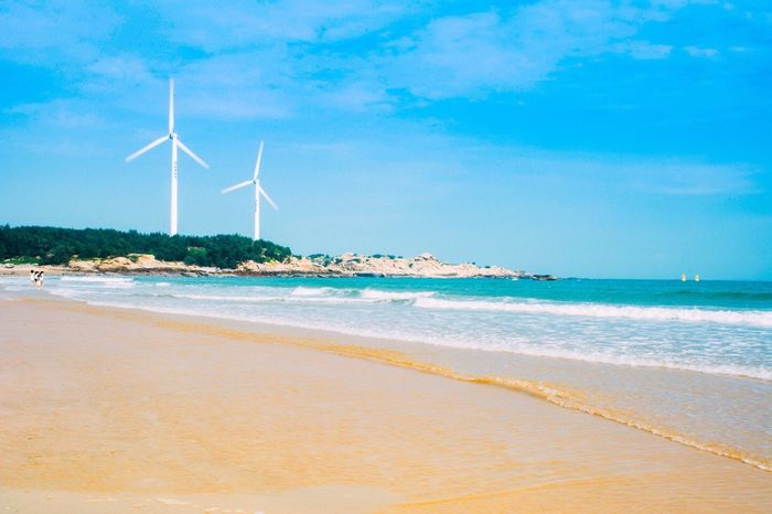 Wind Power Wind Turbine Alternative Energy Sea Renewable Energy Environmental Conservation Fuel And Power Generation Windmill Sky Beach Nature Beauty In Nature