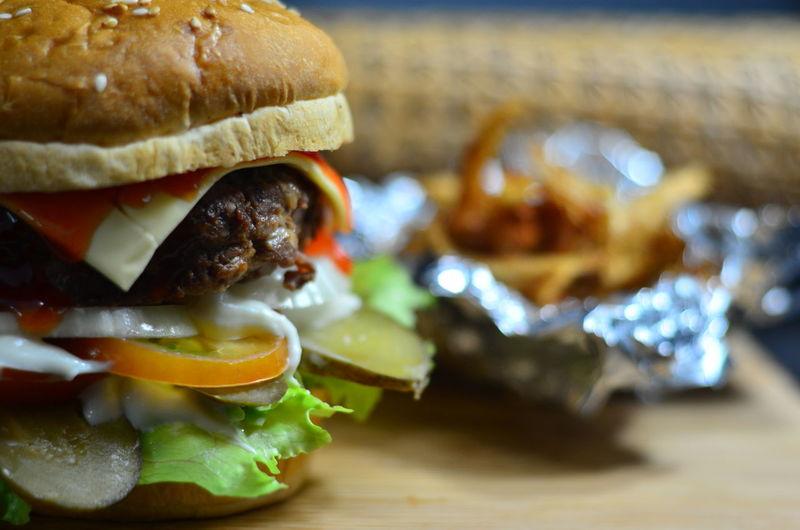 Bread Bun Close-up Hamburger Indoors  Meat No People Selective Focus Snack Still Life
