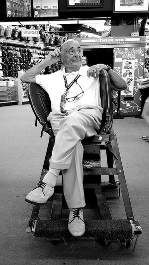 Seated in the glove seat; Owner & Proprietor Sports Memorabilia Shop Near Fenway Park EyeEm Best Shots - People + Portrait EyeEm EyeEm Best Shots - Black + White On YawkeyBoston, Ma Red Sox Nation EyeEm Gallery S6 Eyeemphotography Black & White Edit :)
