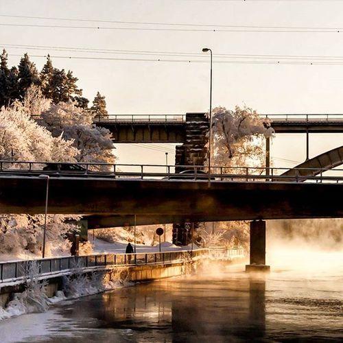 The iconic bridges in Heinola on a cold winters day. Dslrphotography DSLR Winter Frozen Riverbank Bridges Finland Suomi