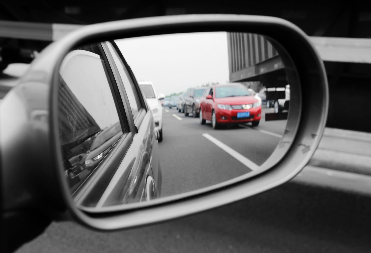 car, side-view mirror, transportation, mode of transport, land vehicle, no people, outdoors, day, close-up