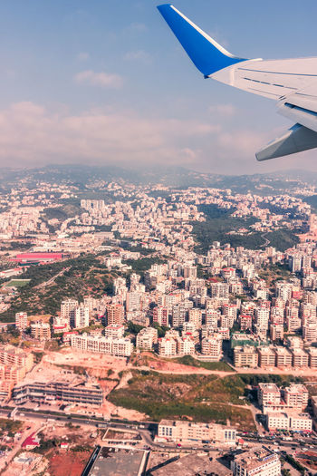 From above Aerial View Air Vehicle Airplane Airplane Wing Beirut City Cityscape Day Flying Journey Lebanon Mountain Nature No People Outdoors Sky Transportation Travel Travel Travel Destinations