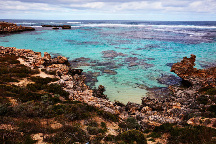 Western Australia Australia Sea Water Scenics - Nature Sky Beauty In Nature Land Beach Rock Cloud - Sky Horizon Over Water Tranquil Scene Tranquility Horizon Rock - Object Solid Nature Day Rock Formation No People Outdoors Rocky Coastline Turquoise Colored Rottnest Island