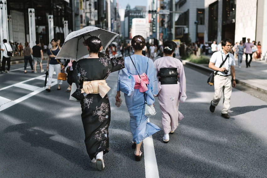Three women in kimonos in Ginza, Tokyo. Japan Tokyo Adult Architecture Building Exterior City City Life Crowd Day Group Of People Japanese Woman Kimono Outdoors Real People Road Street Street Fashion Street Photography Streetphotography Walking Women The Portraitist - 2018 EyeEm Awards The Photojournalist - 2018 EyeEm Awards The Traveler - 2018 EyeEm Awards