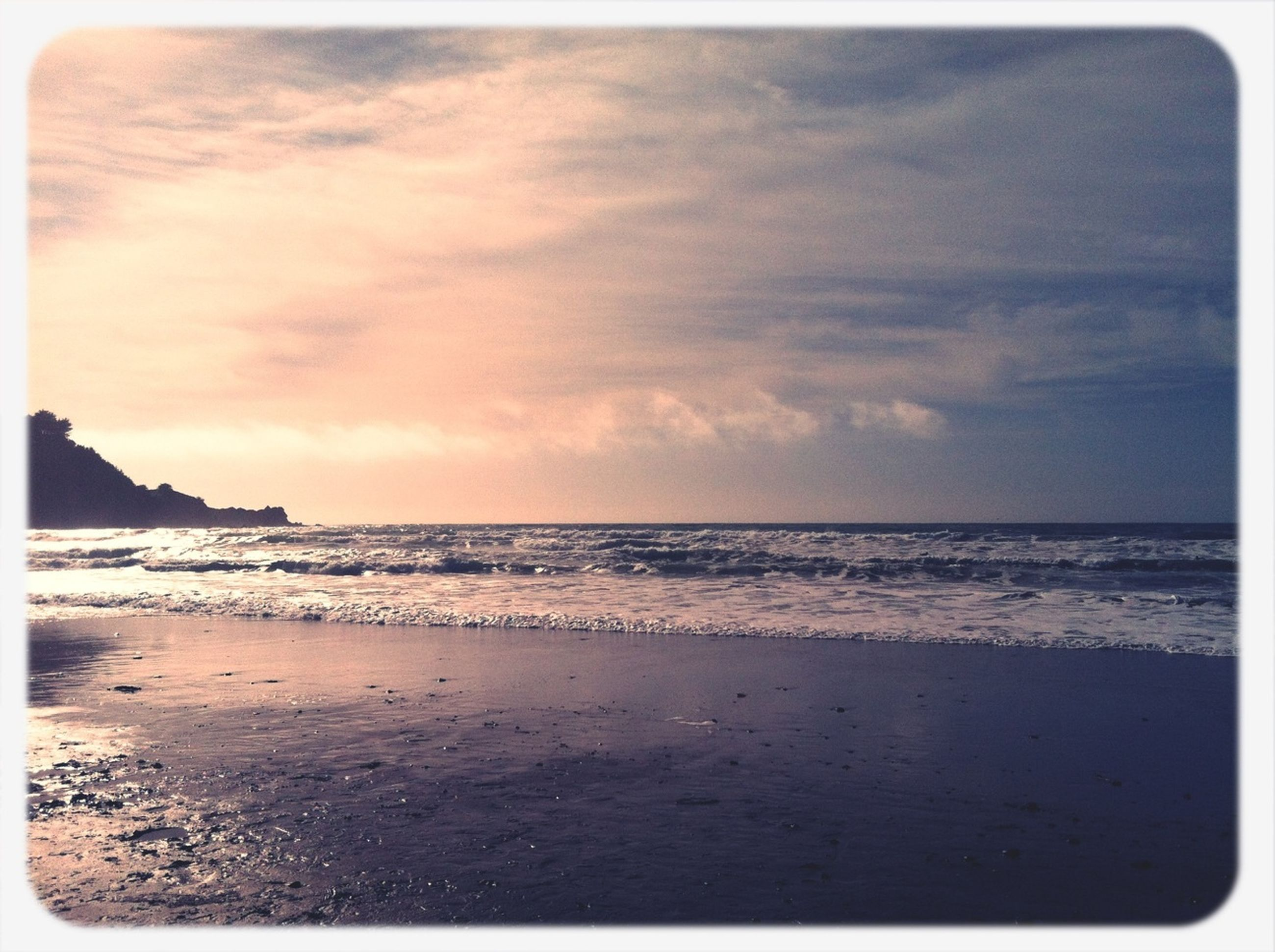 sea, horizon over water, transfer print, beach, water, sky, scenics, tranquil scene, tranquility, auto post production filter, beauty in nature, shore, nature, sand, idyllic, cloud - sky, wave, coastline, cloud, outdoors