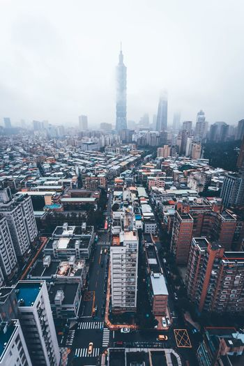 Skyscraper Architecture Cityscape City Tower Building Exterior Travel Destinations Aerial View Built Structure High Angle View Urban Skyline Day Tall Outdoors Modern No People Sky 101 101 Taipei