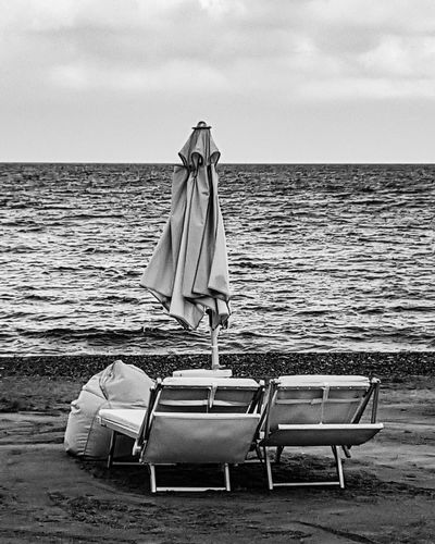 Sea Beach Sand Horizon Over Water Summer Outdoors Vacations Sky Tranquility Water Travel Destinations Day Nature Relaxation One Person One Man Only People Only Men Bnwmood Blackandwhite Photography Bnw_of_our_world Bnw_lover