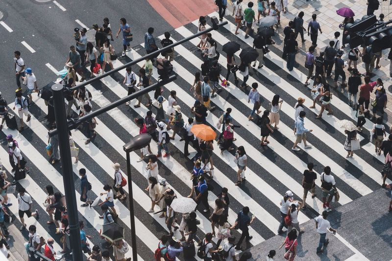 High angle view of crowd walking on zebra crossing