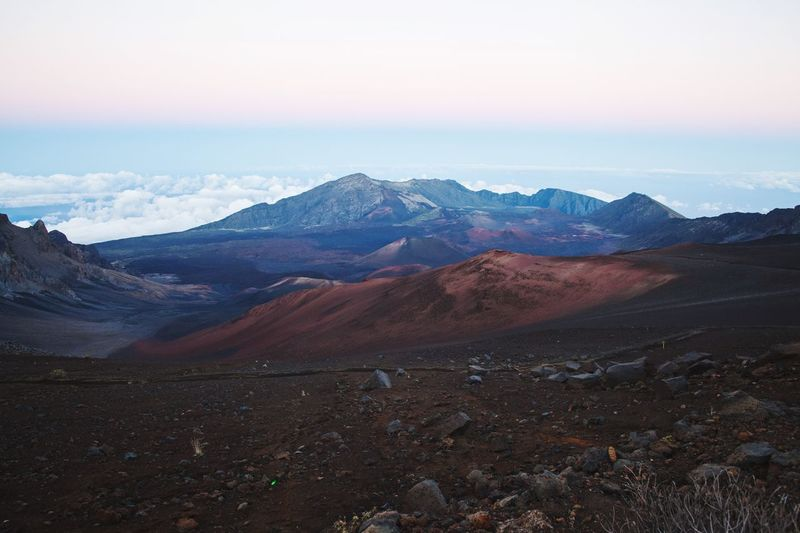 Maui Sunset Silhouette Hawaii Haleakala Mountain Landscape Mountain Range Nature Scenics Beauty In Nature Desert Sky Tranquility Outdoors Arid Climate Physical Geography Travel Destinations Day No People