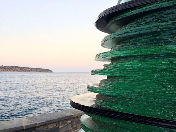 Horn Of Amalthea Agios Nikolaos Monument Modern Art Horn Greece Crete Sea Sky Sunset Seascape Seaview Green Glass Sightseeing Traveling No People
