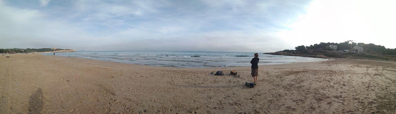 Panorama Sea Sky Girl Alone Sand Water