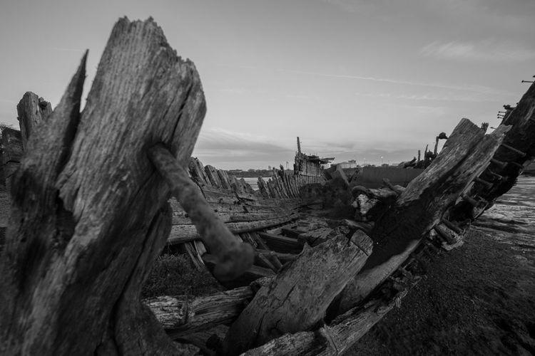 Old Ruins Of Boat At Beach