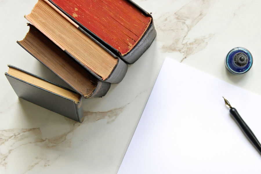Book stack and writing desk Academics Blank Paper Book Stacks Books Business Communication Copy Space Creativity Desk Desktop Directly Above Education Frame Ink Knowledge Literature Marble Mock Up Pen Story Storytelling Study Styled Vintage Writing