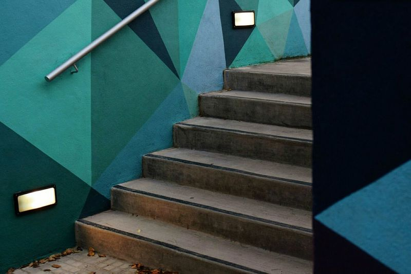 Geometrical Art Outdoor Photography Colorful Nopeople Colors Steps And Staircases Hand Rail Steps Staircase Stairs Railing