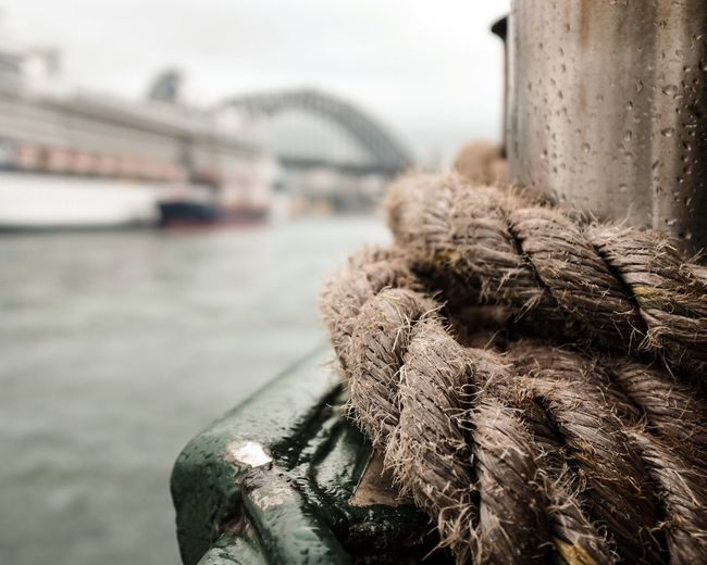 Close-up of rope on wet pole