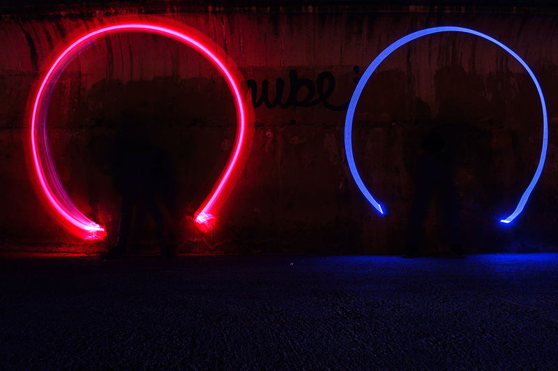Light painting on wall at night
