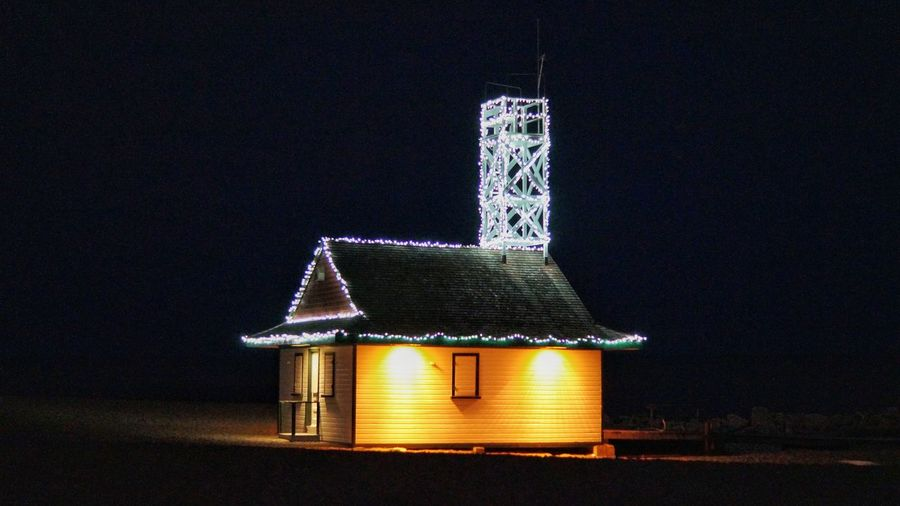 No People Illuminated Outdoors Night Beach Toronto Leuty Lifeguard Station Lights Christmas Lights Festival Of Lights