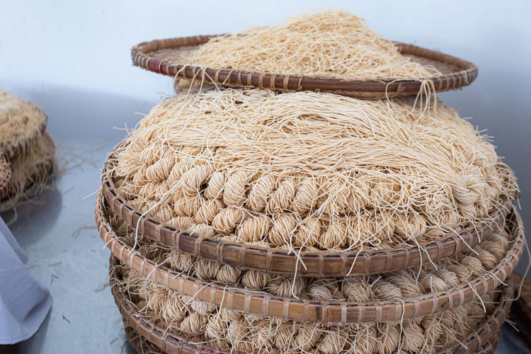 High angle view of dried eggs in basket