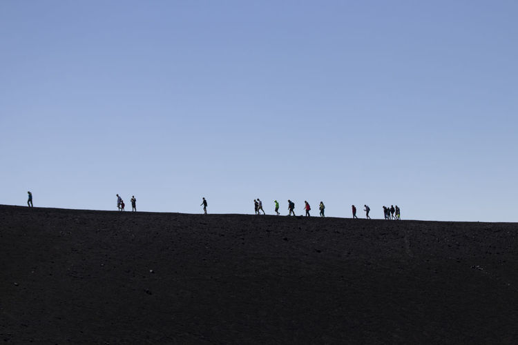 Group of people on beach against clear sky