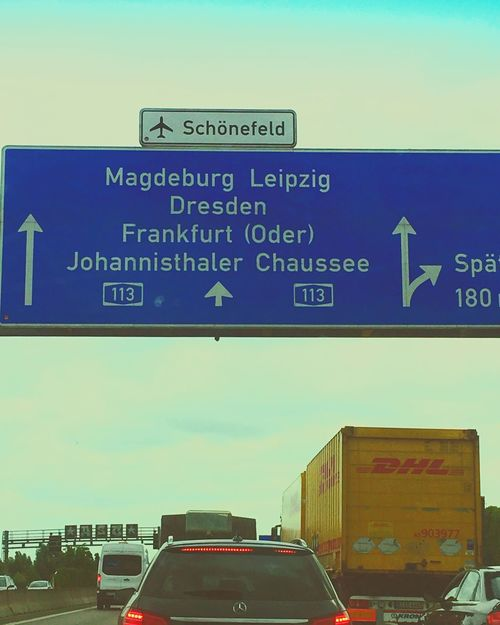 💯Autobahn A113 Stau💯😤😅 Text Communication Guidance Road Sign No People Outdoors Transportation Day Built Structure Architecture Blue Building Exterior Clear Sky Close-up Sky ❌🚓🚕🚗🏎🚚🚛🚒🚐🚎🚌🚔🚍🚐❌ Car Schönefeld Airport Autobahn Stress