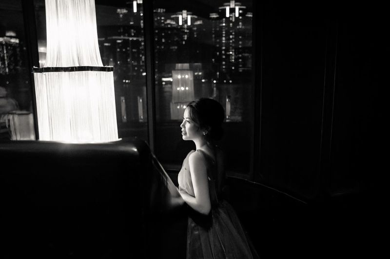 Blackandwhite Thebund Citylights Night Nightphotography Monochrome One Person Real People Lifestyles Leisure Activity Young Adult Indoors  Window