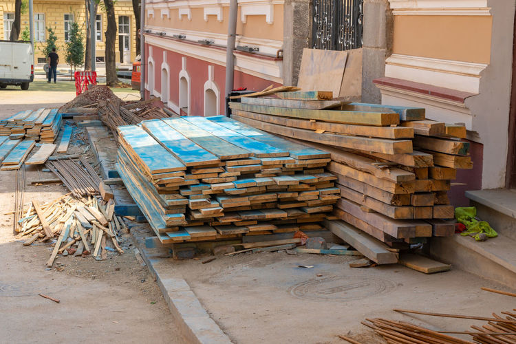 Stack of logs in building
