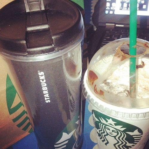 My tumbler's first day of work. Starbucks Work Chocochip