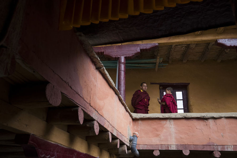 Architecture Building Built Structure Conversing Day Indoors  Kids Lamayuru Lifestyles Low Angle View Monastery Monks Real People Talking Two People Women Investing In Quality Of Life
