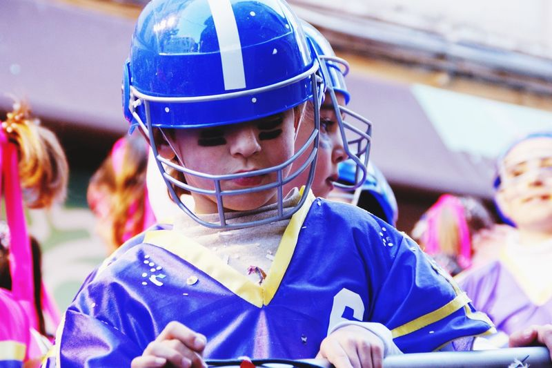 Close-up of girl wearing helmet