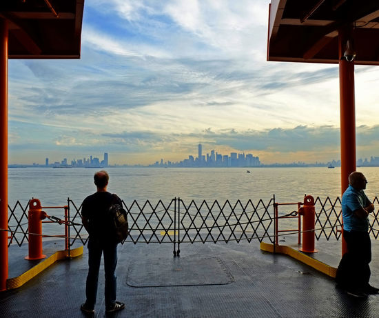 Staten Island Ferry Sea Beach Water Silhouette People Rear View Men Adults Only Sky Adult Built Structure Vacations Only Men Standing Scenics One Person Horizon Over Water One Man Only Outdoors Full Length Newyork Newyorkcityphotographer Newyorkcitylife Newyorkphotography