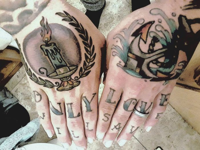 My tattooed hands Hands Tattoo Tattoos Tattooed Art Hand Tattoo Hand Tattoos Candle Candle Light Candlelight Anchor Anchored ONLY LOVE Love love yourself Christian Christianity Knuckles Matty Mullins Inspirational Inspired Artsy Taboo Young Adult Full Frame Currency Backgrounds Text High Angle View Close-up