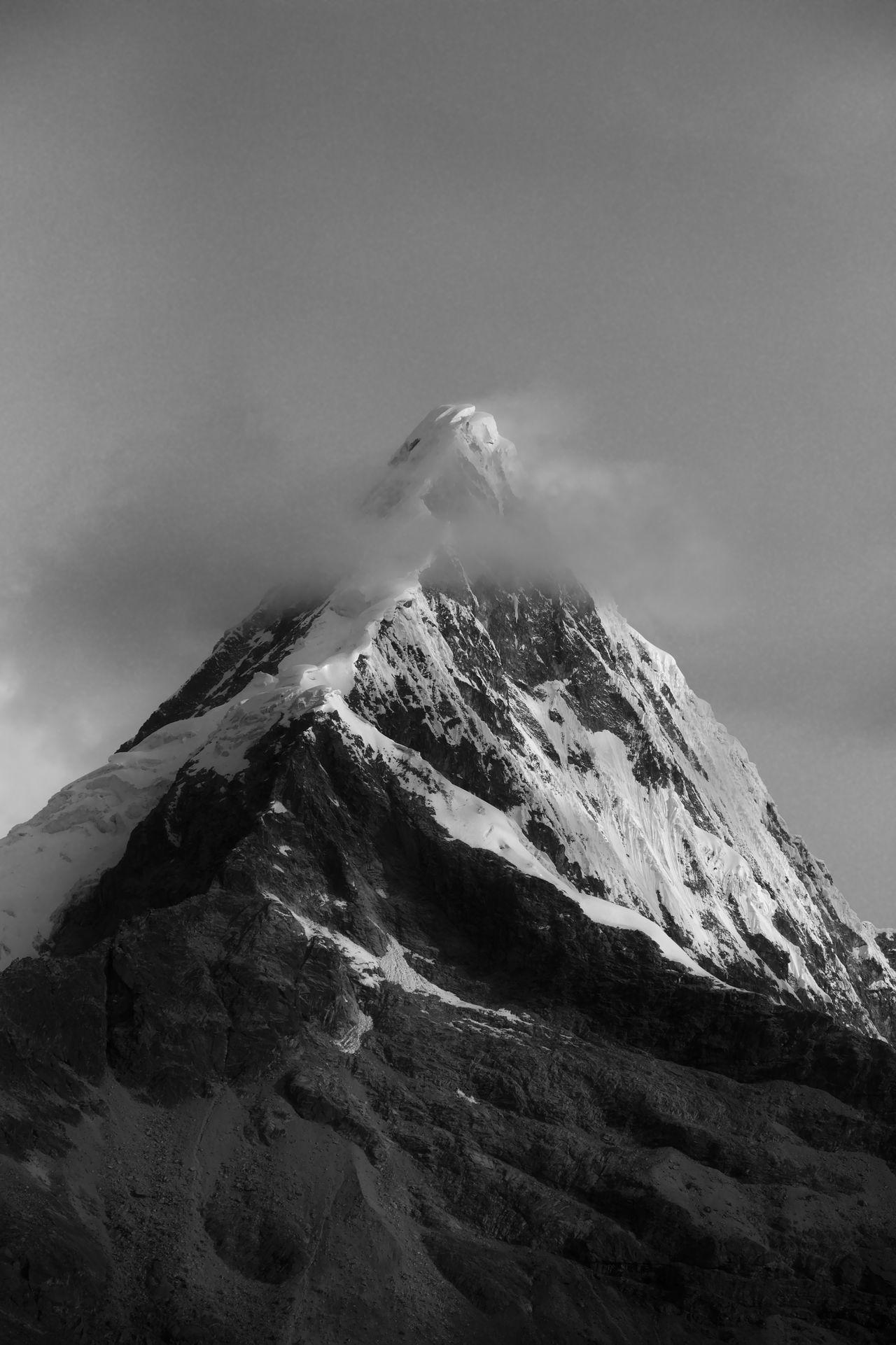 mountain, snow, cold temperature, winter, sky