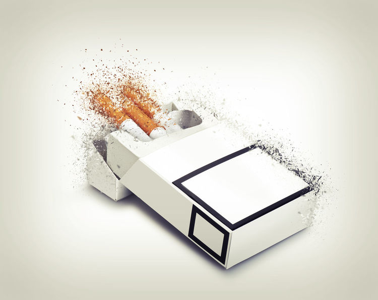 Pack of cigarettes exploded on gradient background Addict Addiction Broken Cancer Cigarette  Cigarettes Close-up Day Exploding EyeEmNewHere Indoors  No People Pack Studio Shot White Background White Color