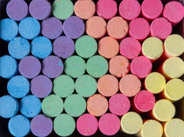 Full frame shot of multi colored chalks
