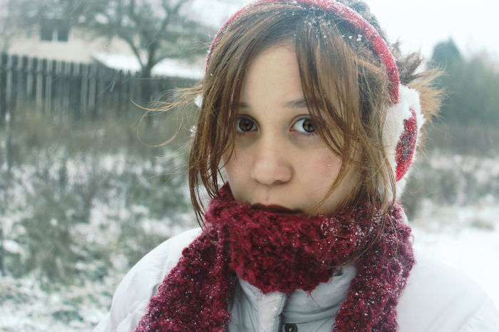 Snow day Snow ❄ Girls Warm Clothing Close-up Cold Temperature Outdoors Winter Portrait Headshot