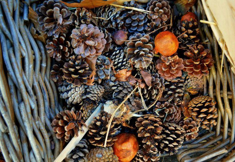Autumn Colors Autumn Fruits Autumn🍁🍁🍁 Basket Brown And Orange Fall Colors, Fall Season Pine Cones Bronze Colour Pine Cones Decorations