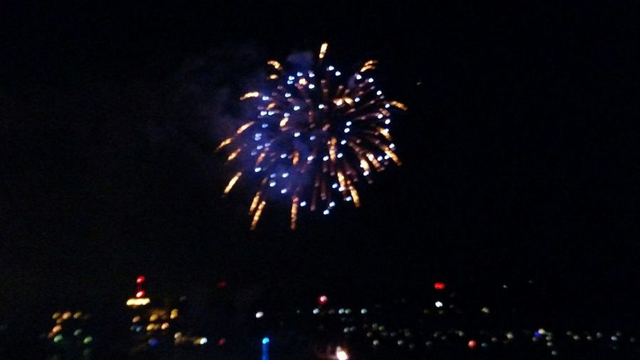 Low angle view of firework display