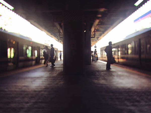 Transportation Railroad Station Railroad Station Platform Silhouette Train Train Station People Light And Shadow IPhoneography Mobilephotography