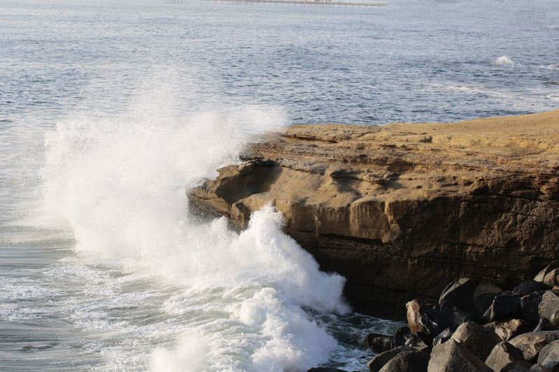 Sunset Cliffs Natural Park JGLowe Pacific Ocean Huge Waves Big Wave Sea Water Beauty In Nature Motion Rock Wave Power In Nature Power Rock - Object Breaking Solid Nature Crash Splashing Day Outdoors