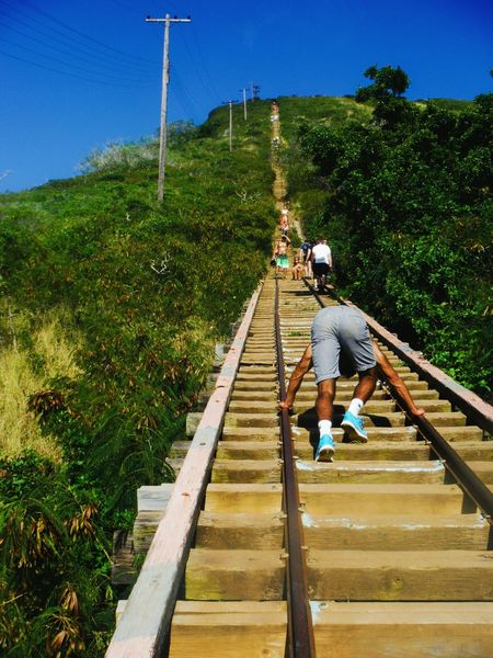 Stairway to heaven Oahu, Hawaii Stairway To Heaven StairwaytoHeaven Kokohead Koko Head  Koko Head Trail Koko Head Hike Koko Head Hike Stairs Koko Head Stairs Oahu Oahu Hawaii Long Way Up Challenge Difficult Struggle Determination Determined Tough Long Road Ahead Hiking Hiking Adventures Going Up Stairs Railroad Track Railroad Tracks
