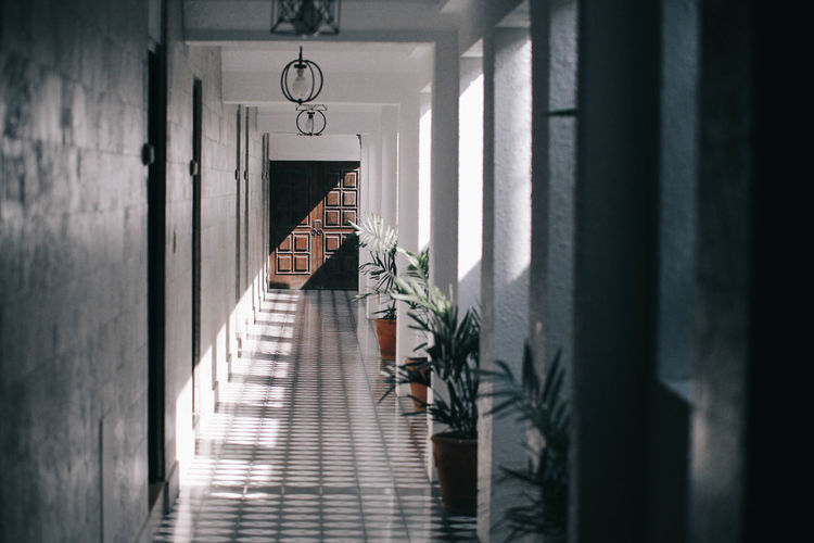 Sunlight Falling Corridor Of Building