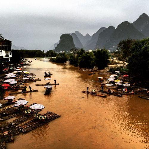 Yellow River Yellow River Bambooraft Bridge Mountains Landscape