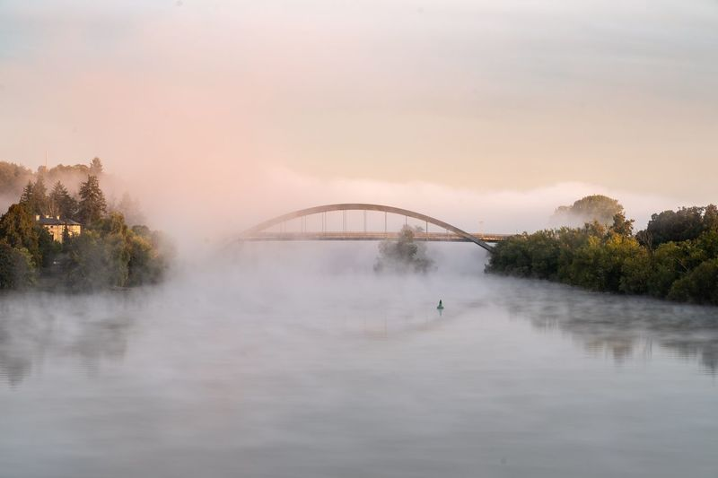 Water Sky Nature Tree Architecture Built Structure Plant No People Bridge Sunset Bridge - Man Made Structure Dusk Fog First Eyeem Photo