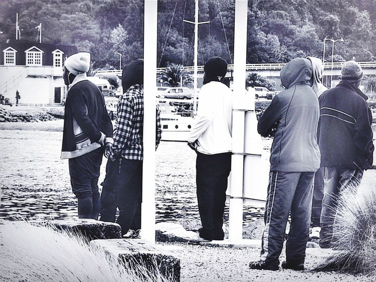 Peoplephotography Watching Boats Boats Taking Photos Blackandwhitephotography People_bw Everyday Lives Water_collection