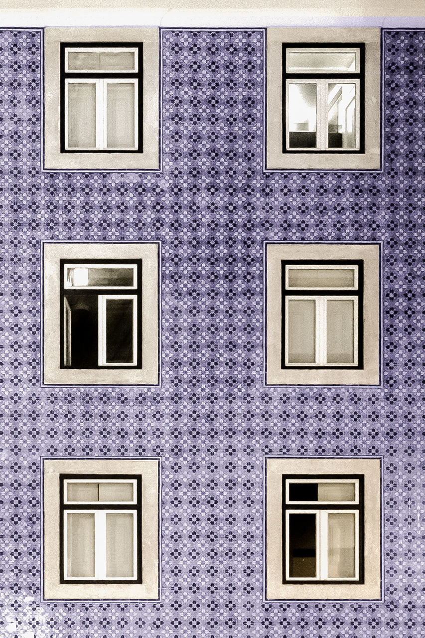 CLOSE-UP OF PURPLE WINDOW